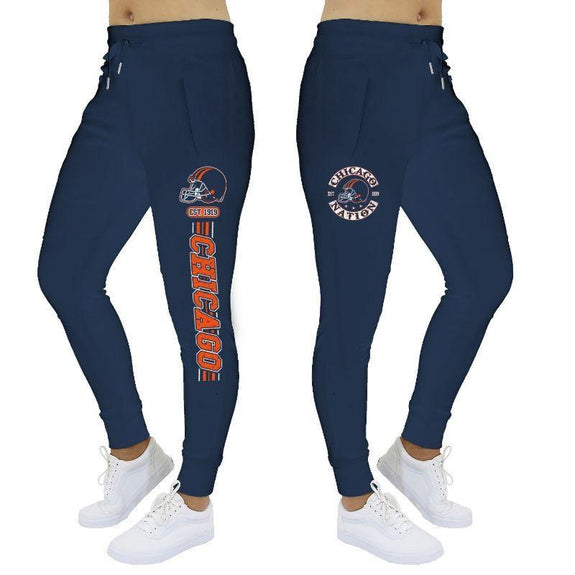 Women's Football Stripes Joggers-Navy-Chicago-S