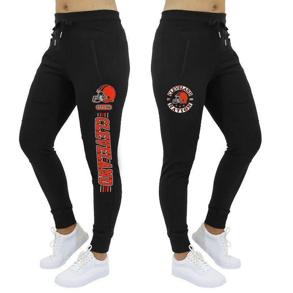 Women's Football Stripes Joggers-Black-Cleveland-L