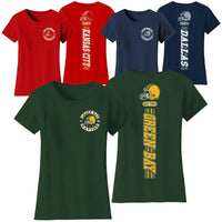 Women's Football Stripes T-Shirts-S-Washington-
