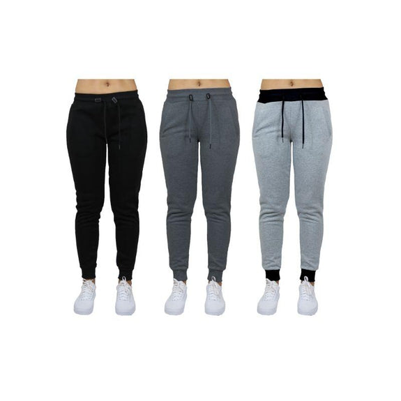 Women's French Terry Fashion Jogger Lounge Pants - 3 Pack-Black - Charcoal - Heather Grey-2XL-