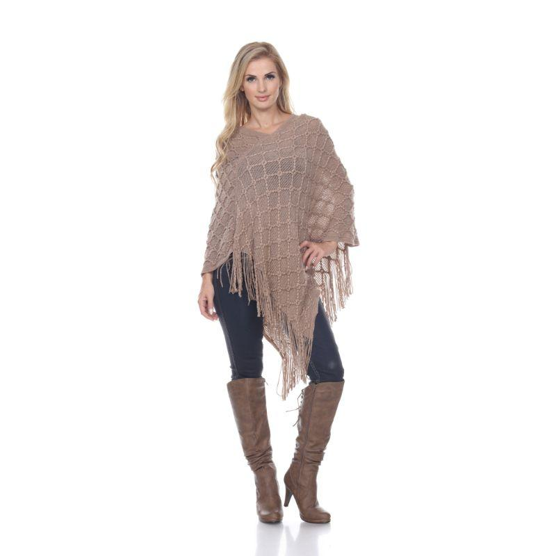 Women's Frostine Poncho By White Mark-Beige-One Size Regular-Daily Steals