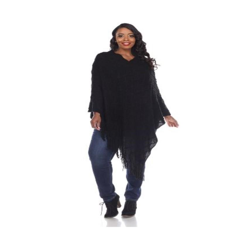 Women's Frostine Poncho By White Mark-Black-One Size Plus Size-Daily Steals