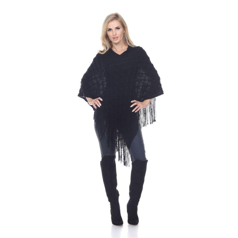 Women's Frostine Poncho By White Mark-Black-One Size Regular-Daily Steals