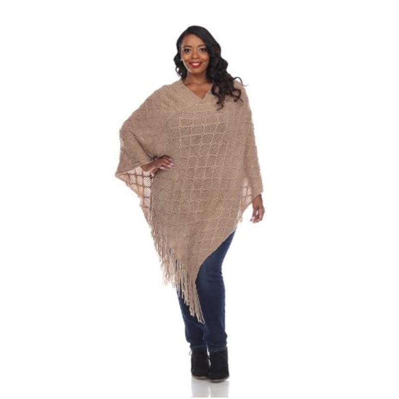Women's Frostine Poncho By White Mark-Neutral-One Size Plus Size-Daily Steals