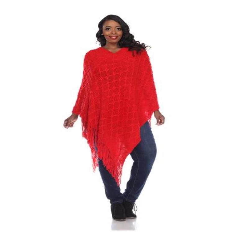 Women's Frostine Poncho By White Mark-Red-One Size Plus Size-Daily Steals