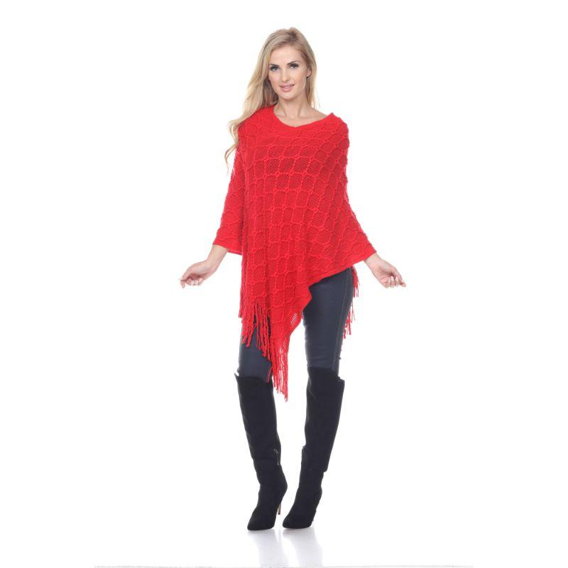Women's Frostine Poncho By White Mark-Red-One Size Regular-Daily Steals