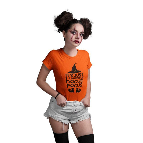 Women's Funny Halloween Costume T- Shirt-S-It's Just a Bunch of Hocus Pocus-
