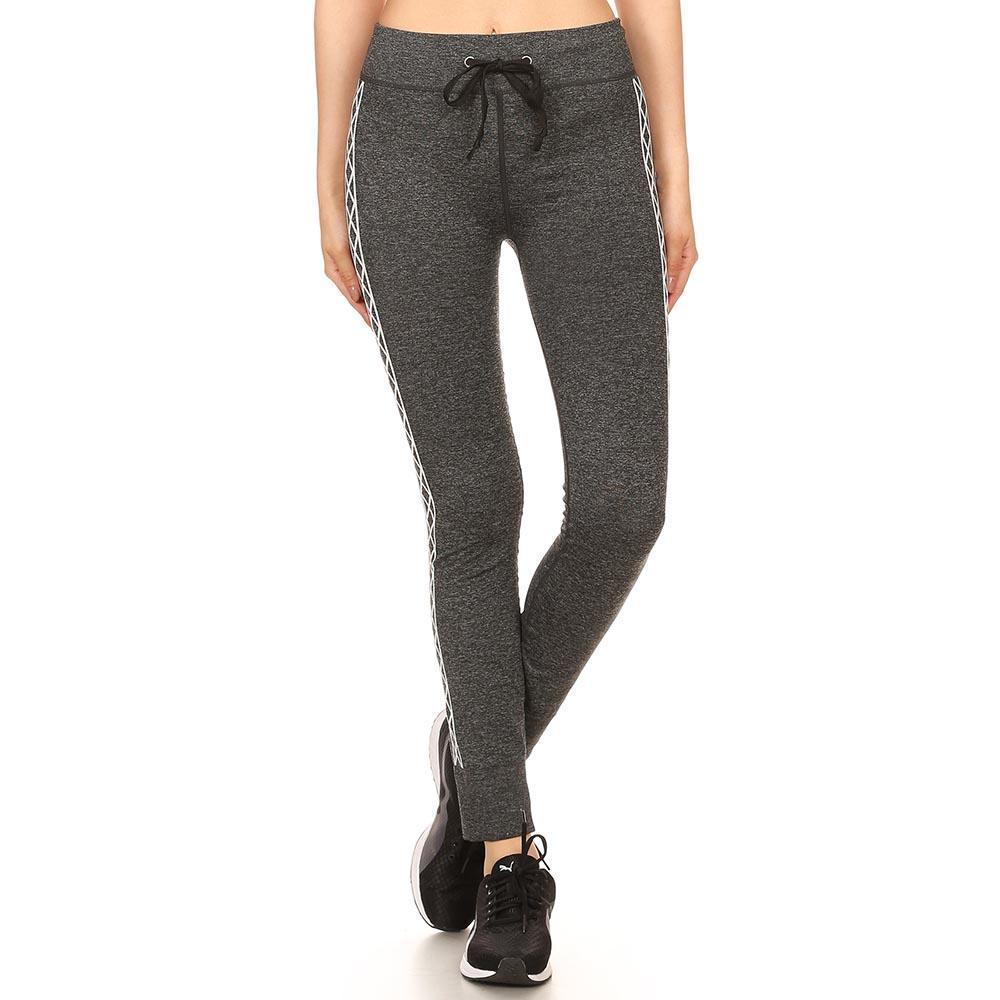 Daily Steals-Women's Heather Charcoal Jogger Leggings W/ Abstract Side Pattern-Women's Apparel-S/M-Style 1-