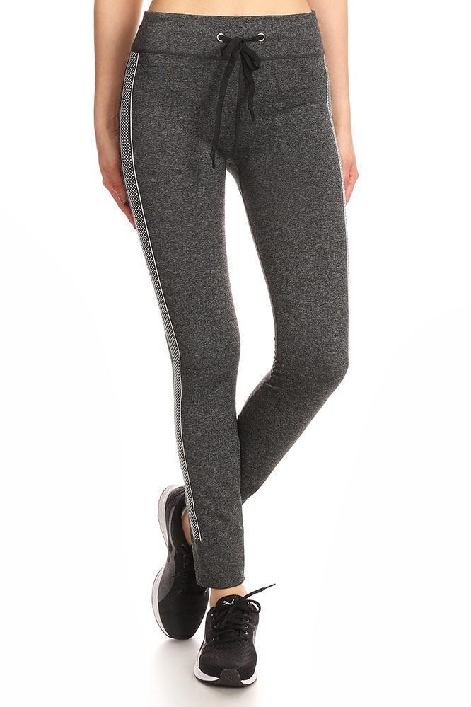 Daily Steals-Women's Heather Charcoal Jogger Leggings W/ Abstract Side Pattern-Women's Apparel-S/M-Style 2-