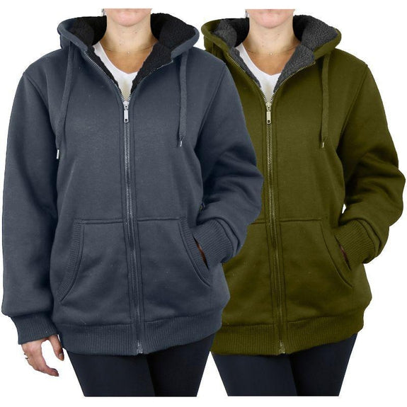 Women's Heavyweight Loose-Fit Sherpa Fleece-Lined Zip Hoodie - 2 Pack-Charcoal & Olive-Large-Daily Steals
