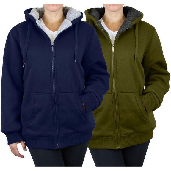 Women's Heavyweight Loose-Fit Sherpa Fleece-Lined Zip Hoodie - 2 Pack-Navy & Olive-Large-Daily Steals