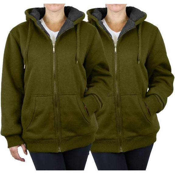 Women's Heavyweight Loose-Fit Sherpa Fleece-Lined Zip Hoodie - 2 Pack-Olive & Olive-2X-Large-Daily Steals