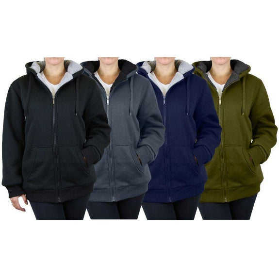 Women's Heavyweight Loose-Fit Sherpa Fleece-Lined Zip Hoodie - 2 Pack-Daily Steals
