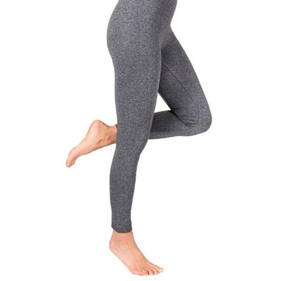 Womens High-Waisted Fleece Lined Marled Leggings-Charcoal-L/XL-