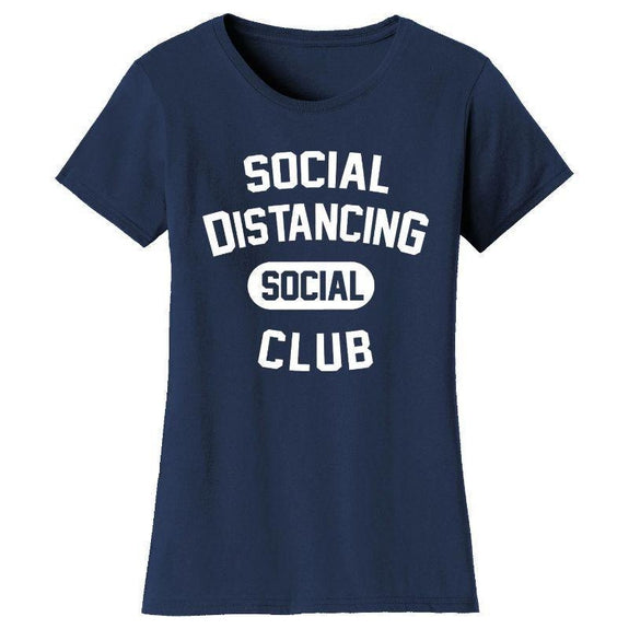 Women's Hilarious Social Distancing T-Shirt-Navy-Social Distancing Social Club-L