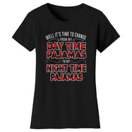 Women's Hilarious Social Distancing T-Shirt-Black-Day Time Pajamas Night Time Pajamas-M