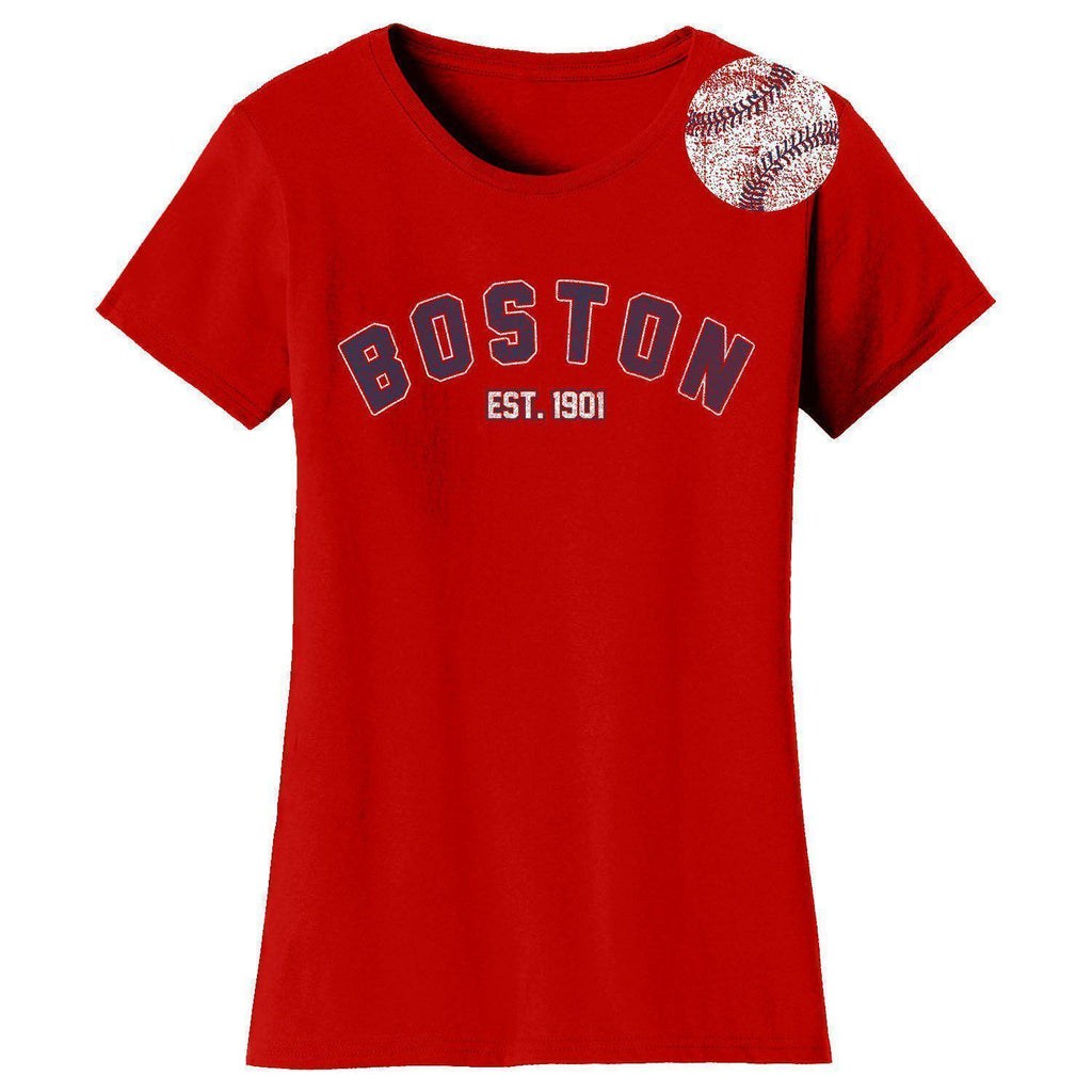 Daily Steals-Women's Home Run Baseball T-shirts-Women's Apparel-2XL-Boston - Red-