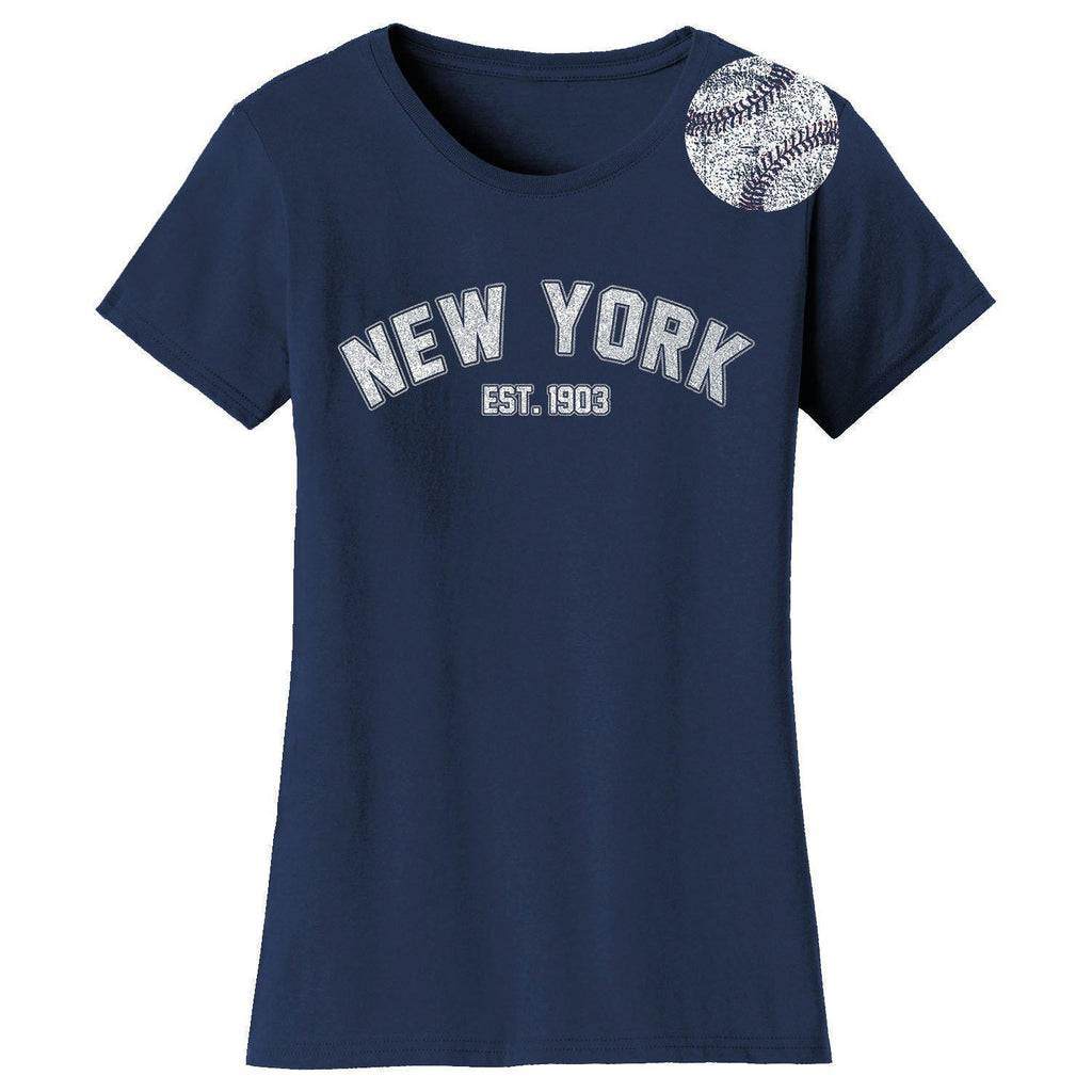 Daily Steals-Women's Home Run Baseball T-shirts-Women's Apparel-2XL-New York - Navy-