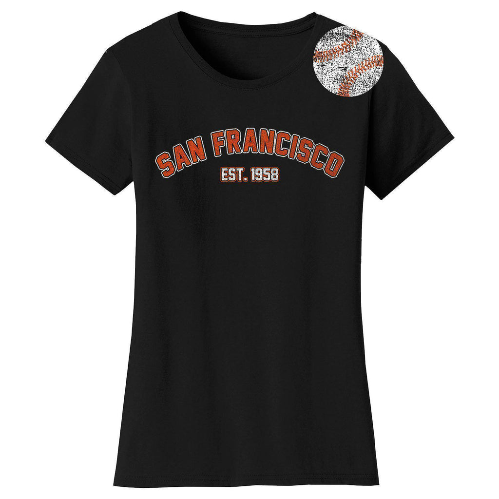 Daily Steals-Women's Home Run Baseball T-shirts-Women's Apparel-2XL-San Francisco - Black-
