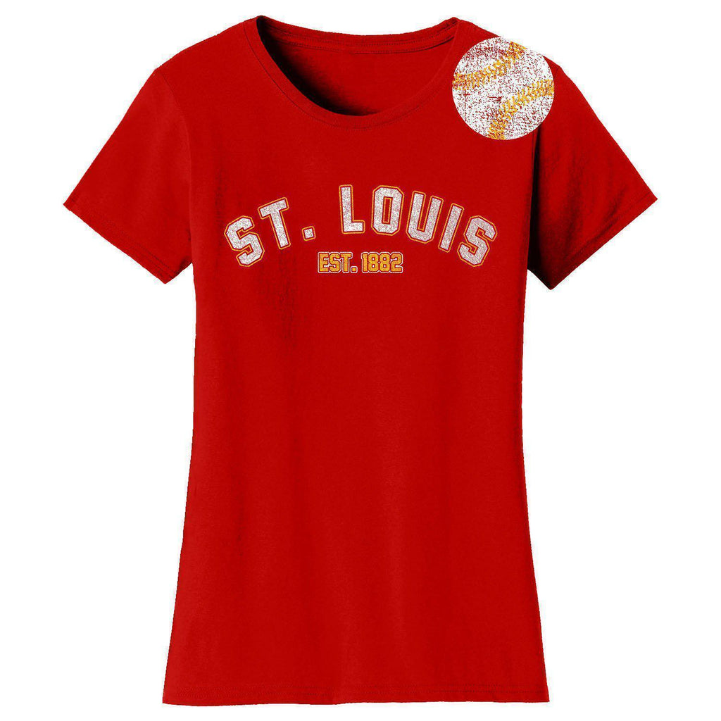 Daily Steals-Women's Home Run Baseball T-shirts-Women's Apparel-2XL-St. Louis - Red-