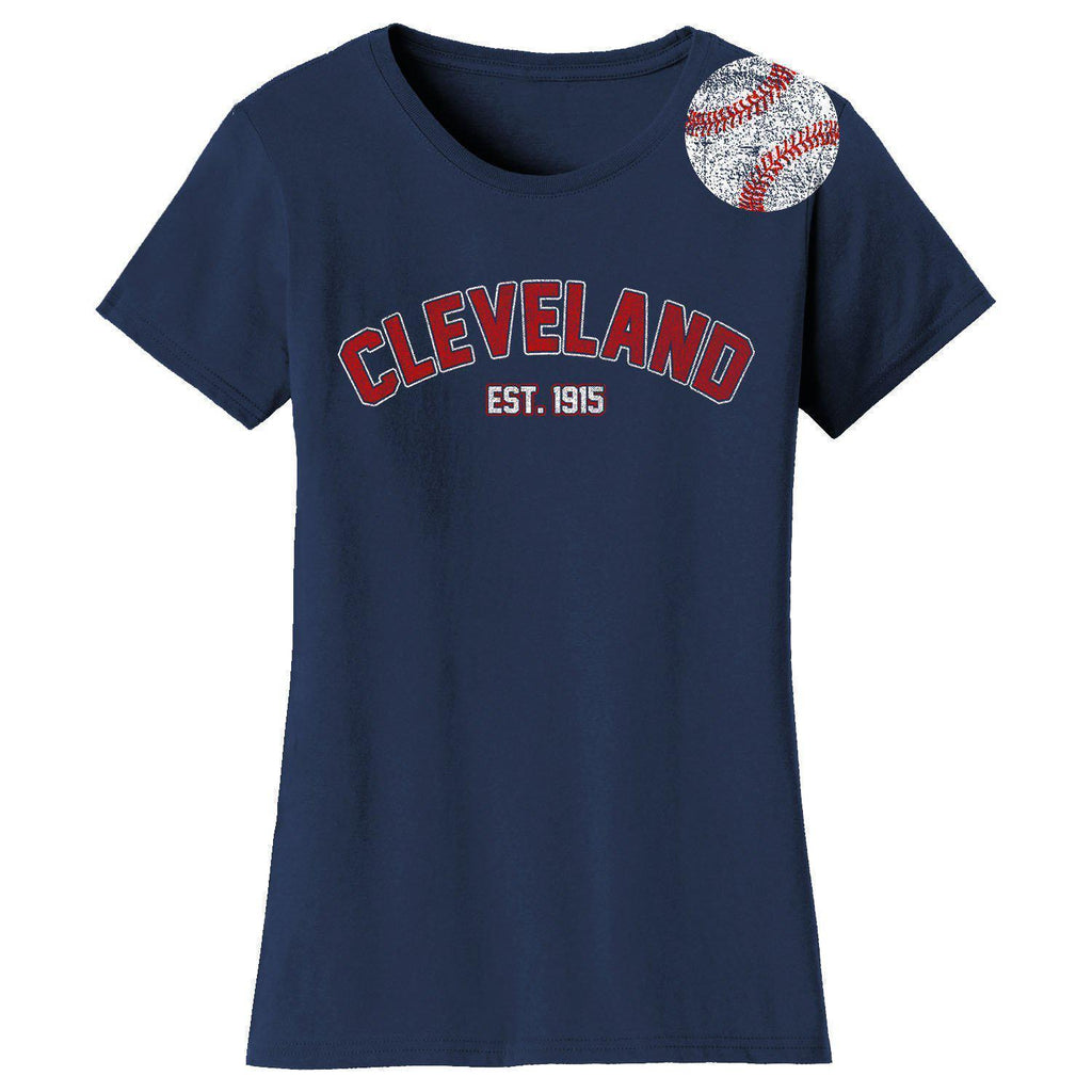 Daily Steals-Women's Home Run Baseball T-shirts-Women's Apparel-M-Cleveland - Navy-