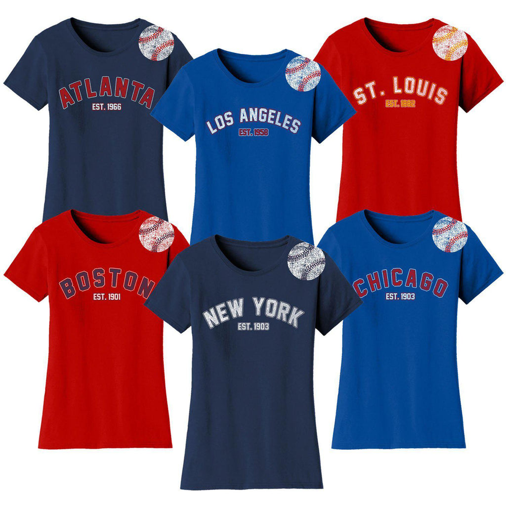 Daily Steals-Women's Home Run Baseball T-shirts-Women's Apparel-S-New York - Navy-