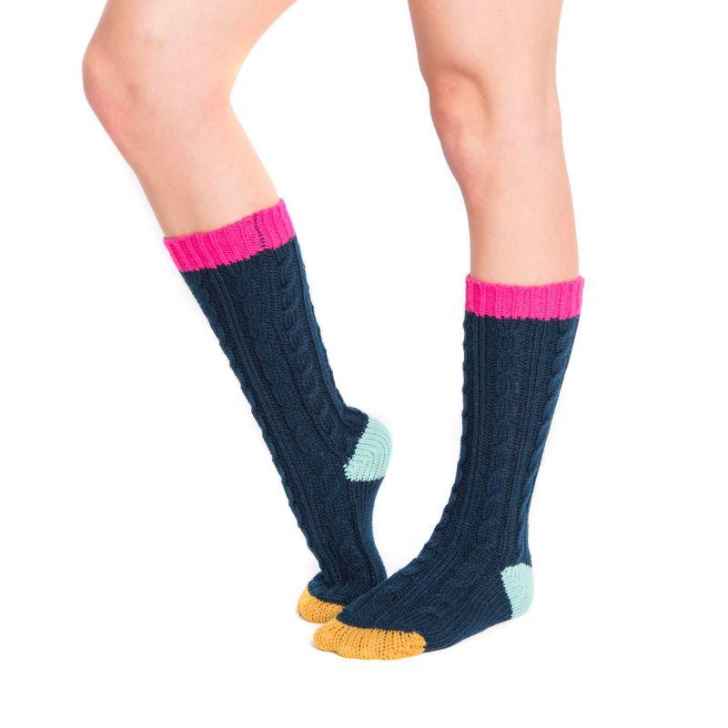 Women's Knee High Socks by Muk Luks-Blue-Daily Steals