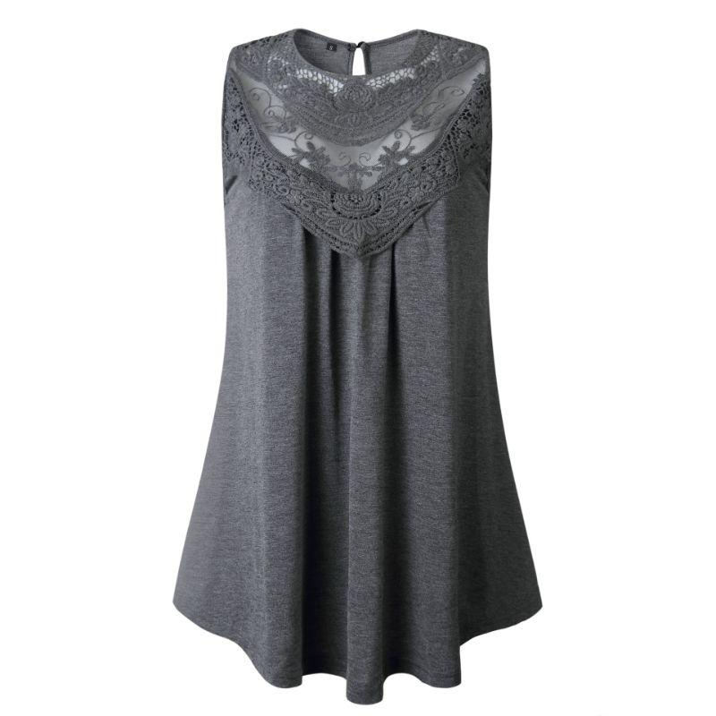 Women's Lace Front Scoop Top by Lilly Posh-Grey-XL-Daily Steals