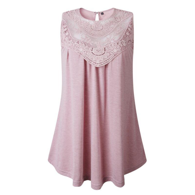 Women's Lace Front Scoop Top by Lilly Posh-Pink-XL-Daily Steals