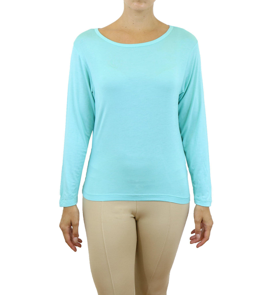 Daily Steals-Women's Lightweight Long Sleeve Stretch Tee-Women's Apparel-Turquoise-X-Small-