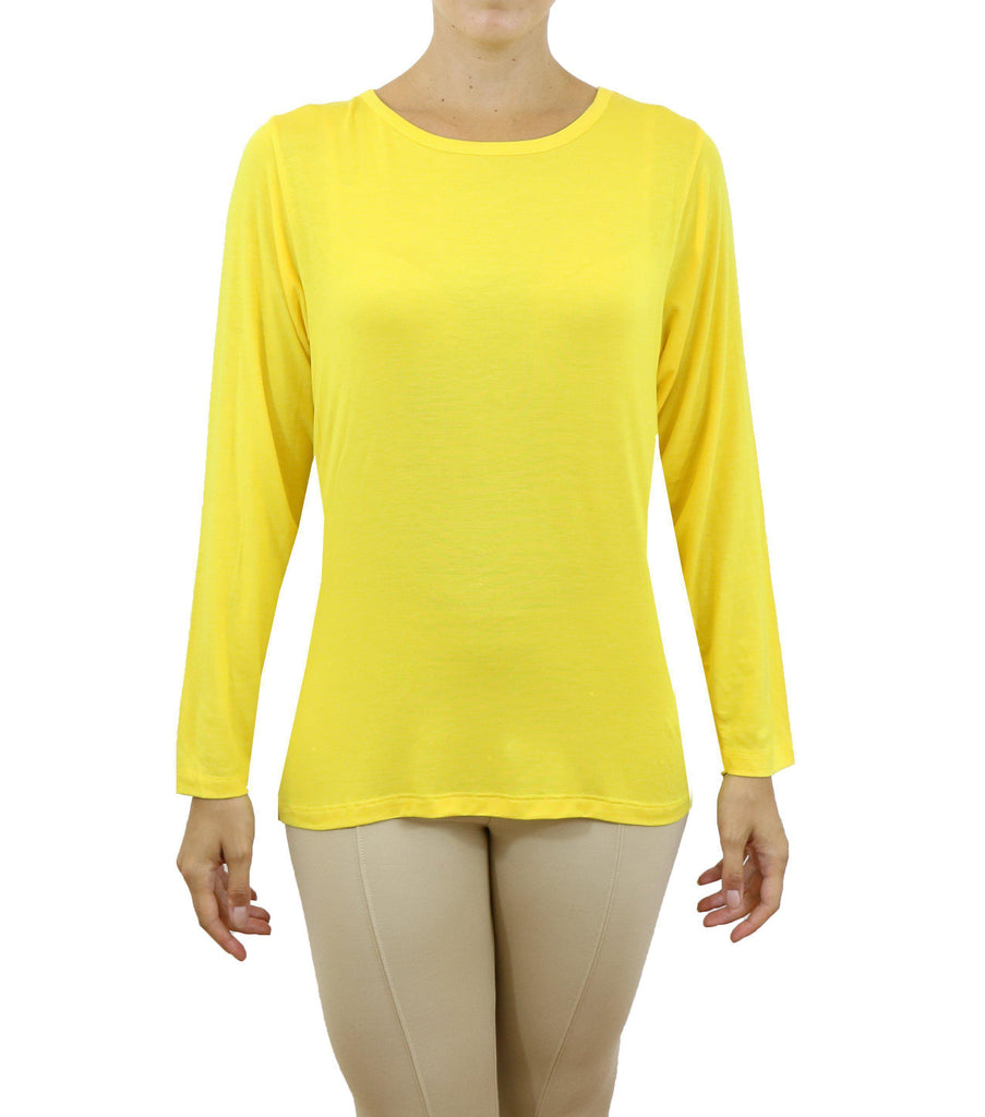 Daily Steals-Women's Lightweight Long Sleeve Stretch Tee-Women's Apparel-Yellow-Small-