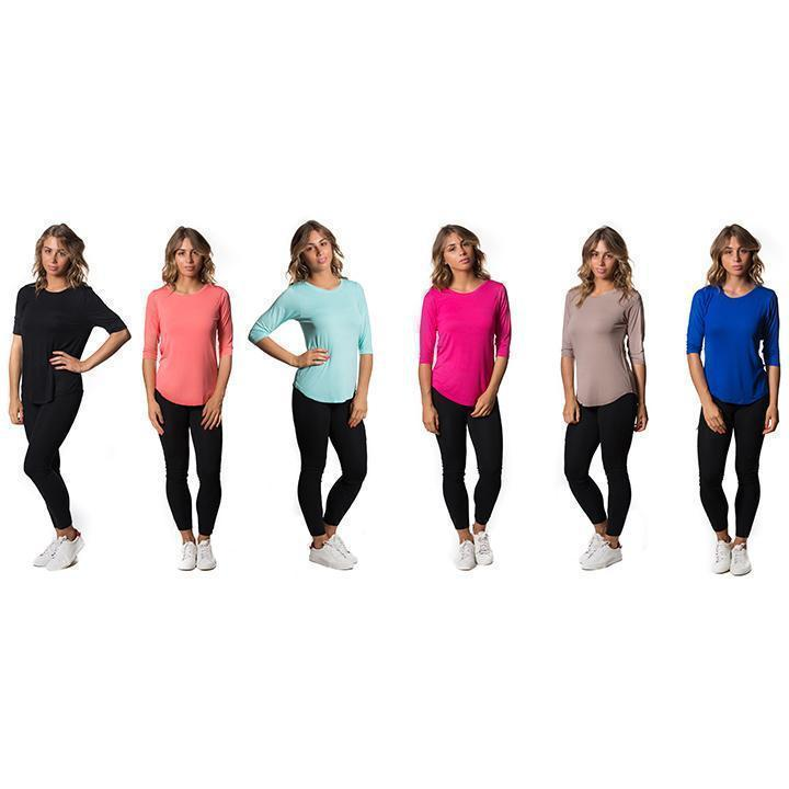 Daily Steals-Womens Lightweight Stretch Tees - Assorted Colors - 3 Pack-Women's Apparel-X-Small-3/4 Sleeve-
