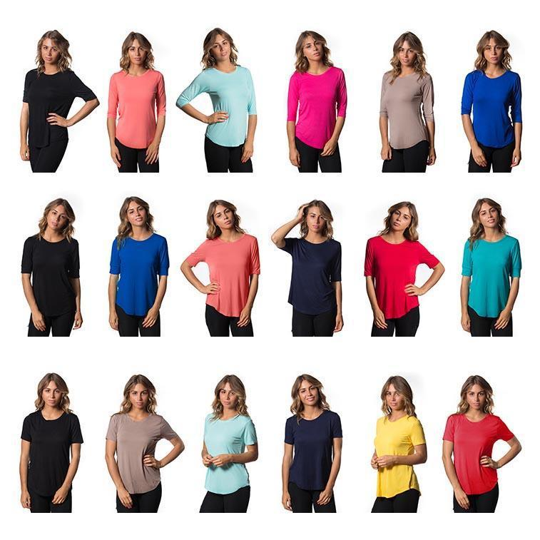 Daily Steals-Womens Lightweight Stretch Tees - Assorted Colors - 3 Pack-Women's Apparel-X-Small-1/2 Sleeve W Cuff-