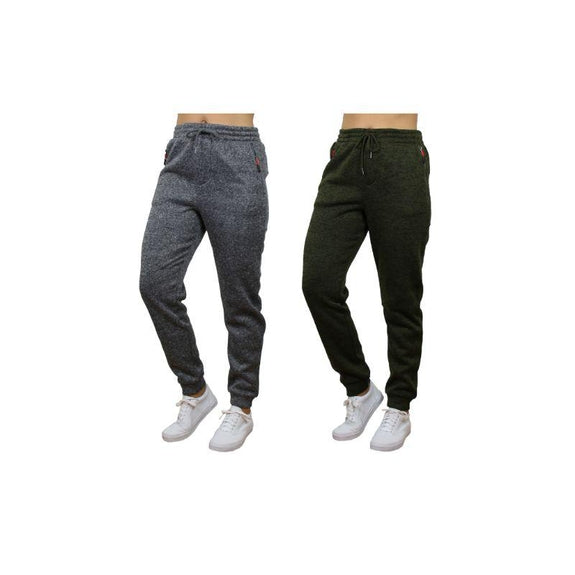 Women's Loose Fit Marled Fleece Jogger Sweatpants With Zipper Pockets-Heather Grey & Green-2 Pack-M