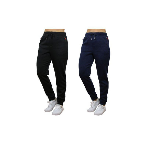 Women's Loose Fit Marled Fleece Jogger Sweatpants With Zipper Pockets-Black & Navy-2 Pack-L
