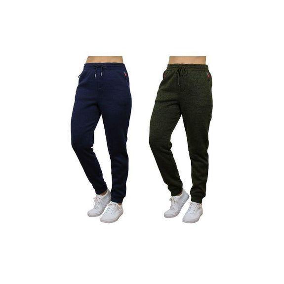 Women's Loose Fit Marled Fleece Jogger Sweatpants With Zipper Pockets-Navy & Green-2 Pack-2XL