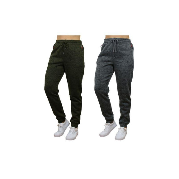 Women's Loose Fit Marled Fleece Jogger Sweatpants With Zipper Pockets-Green & Charcoal-2 Pack-L