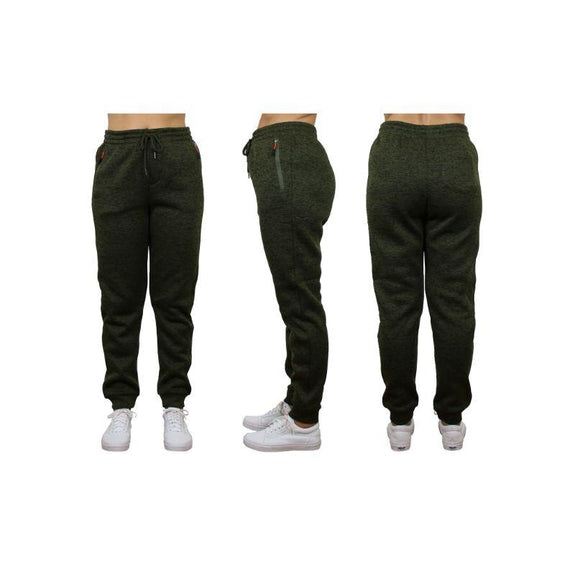 Women's Loose Fit Marled Fleece Jogger Sweatpants With Zipper Pockets-Green-1 Pack-2XL