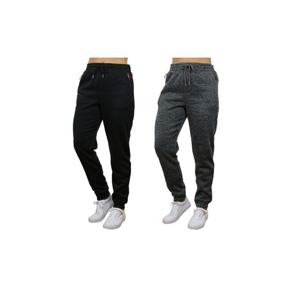 Women's Loose Fit Marled Fleece Jogger Sweatpants With Zipper Pockets-Black & Charcoal-2 Pack-XL