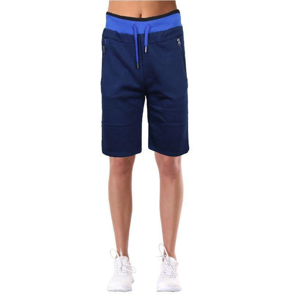 Women's LooseFit Fleece Bermuda Lounge Shorts-Navy-L-