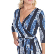 Women's Mariah Wrap Dress by Whitemark-Blue Snake-Large-Daily Steals