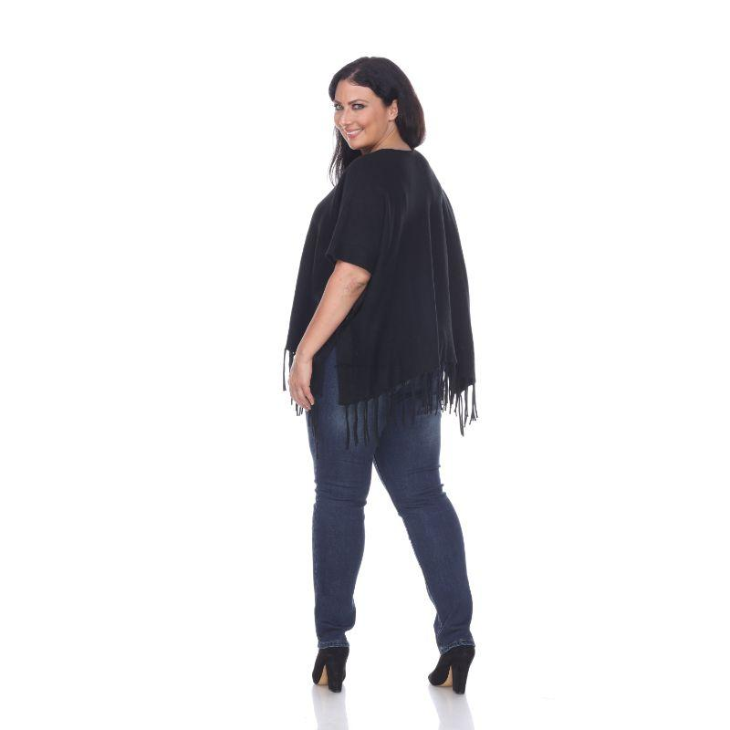 Women's Megara Side Buttoned Fringe Poncho By White Mark-Daily Steals
