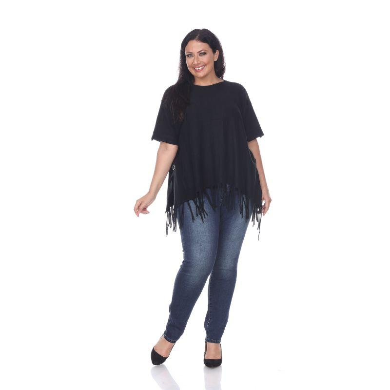 Women's Megara Side Buttoned Fringe Poncho By White Mark-Black-One Size Plus Size-Daily Steals