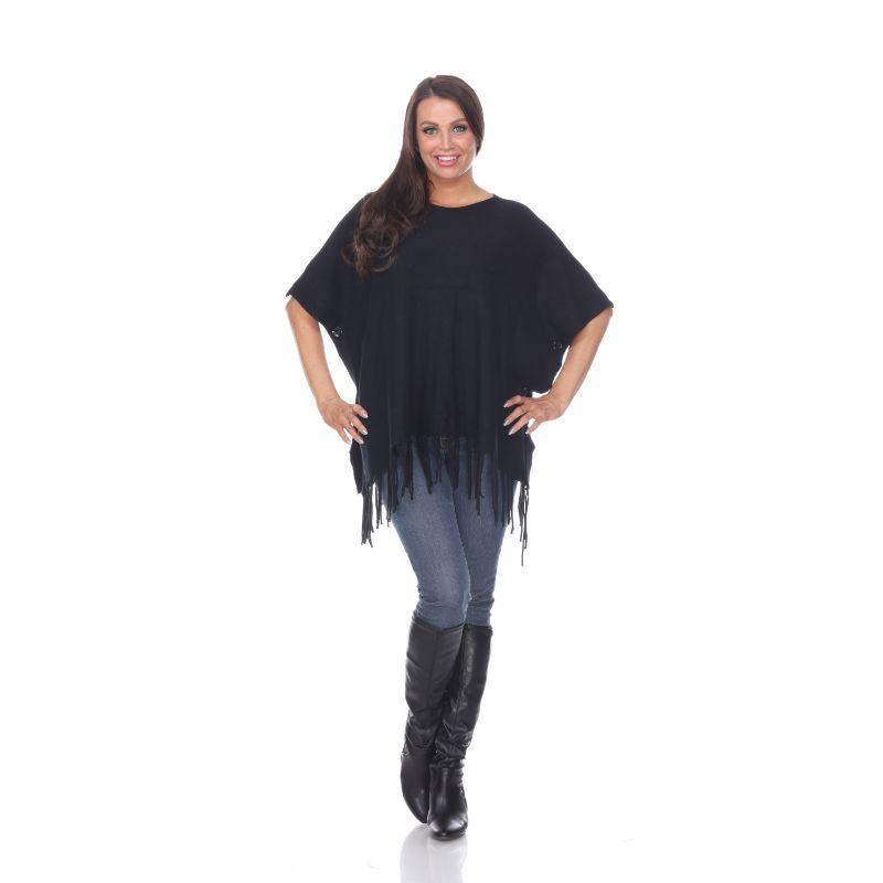 Women's Megara Side Buttoned Fringe Poncho By White Mark-Black-One Size Regular-Daily Steals