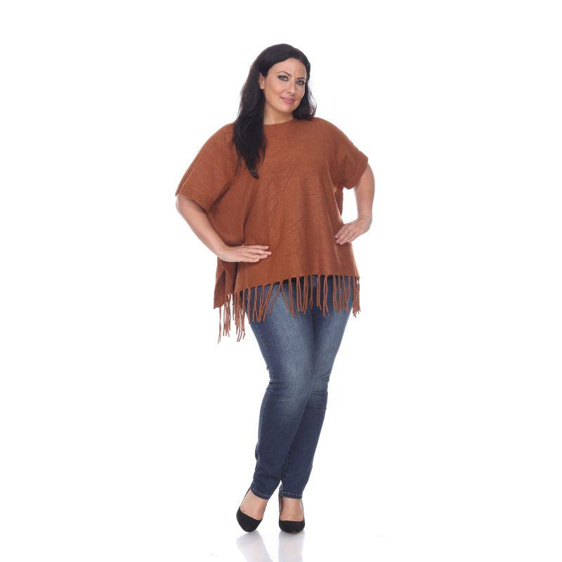 Women's Megara Side Buttoned Fringe Poncho By White Mark-Brown-One Size Plus Size-Daily Steals