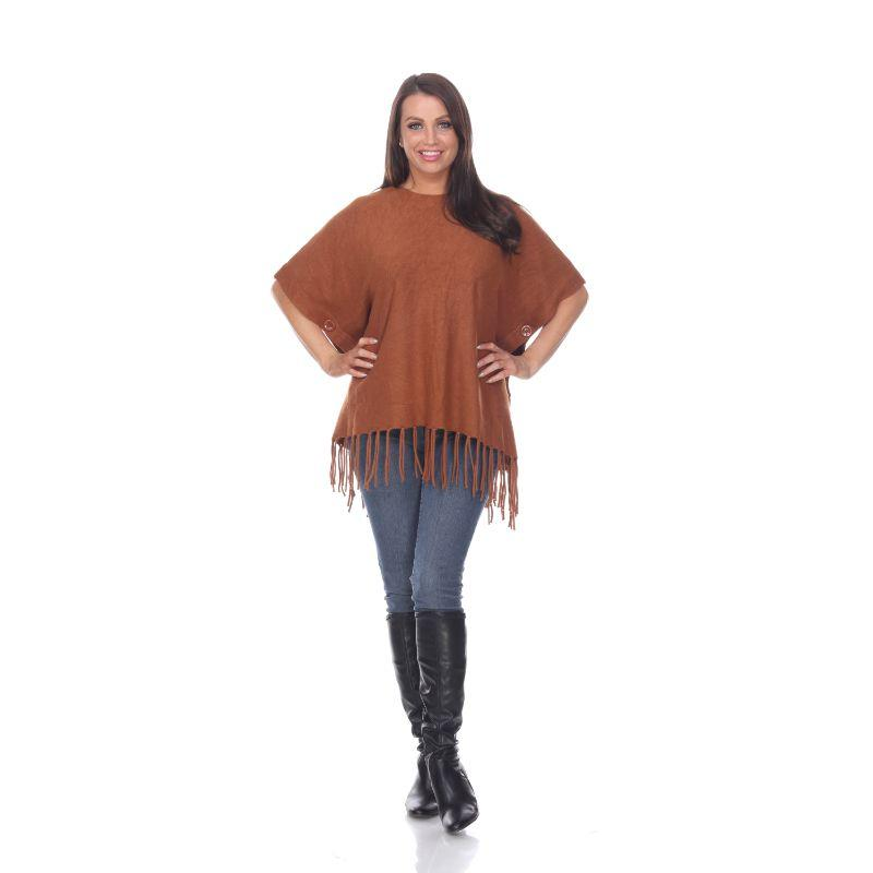 Women's Megara Side Buttoned Fringe Poncho By White Mark-Brown-One Size Regular-Daily Steals
