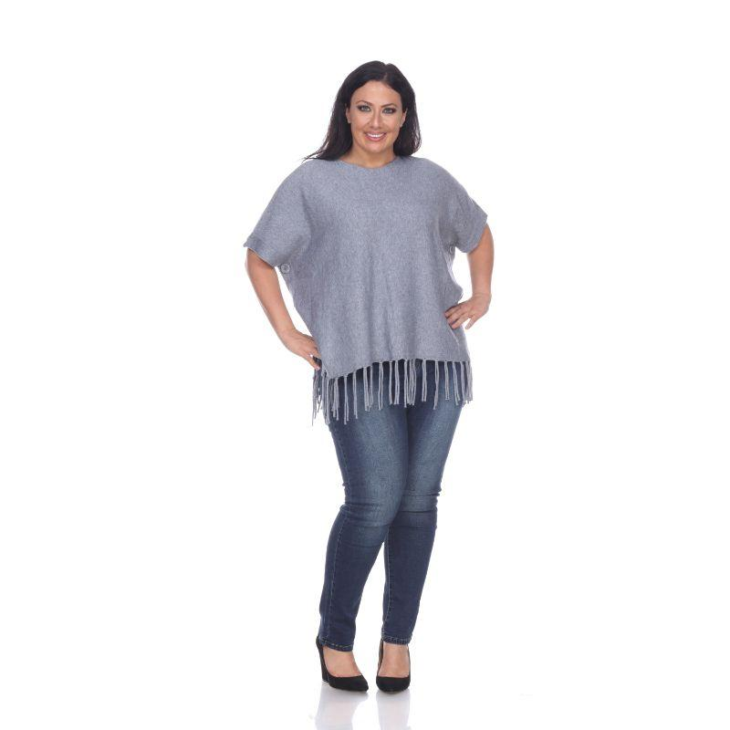Women's Megara Side Buttoned Fringe Poncho By White Mark-Grey-One Size Plus Size-Daily Steals