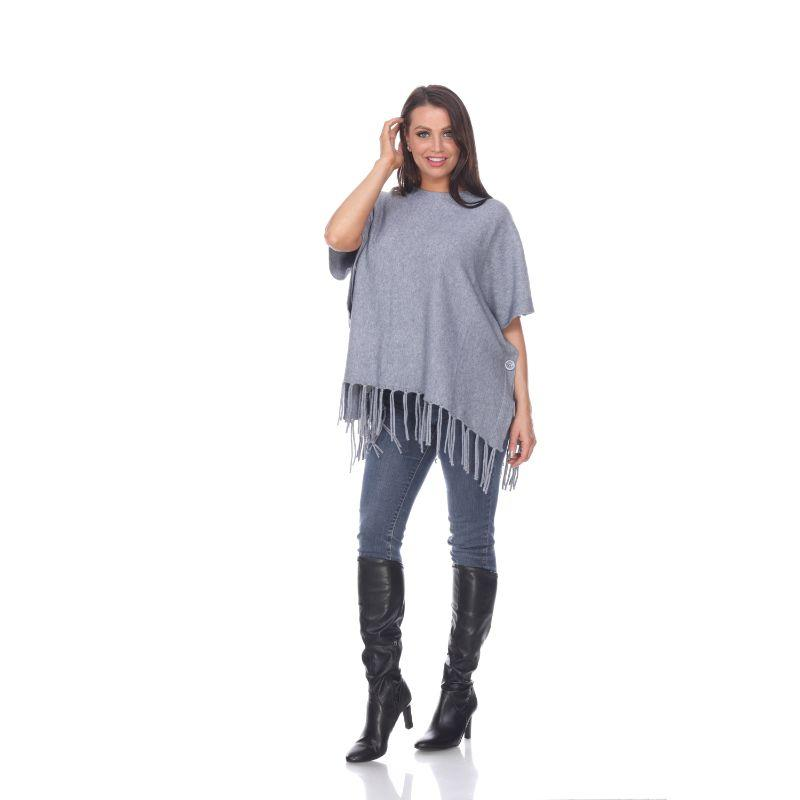 Women's Megara Side Buttoned Fringe Poncho By White Mark-Grey-One Size Regular-Daily Steals