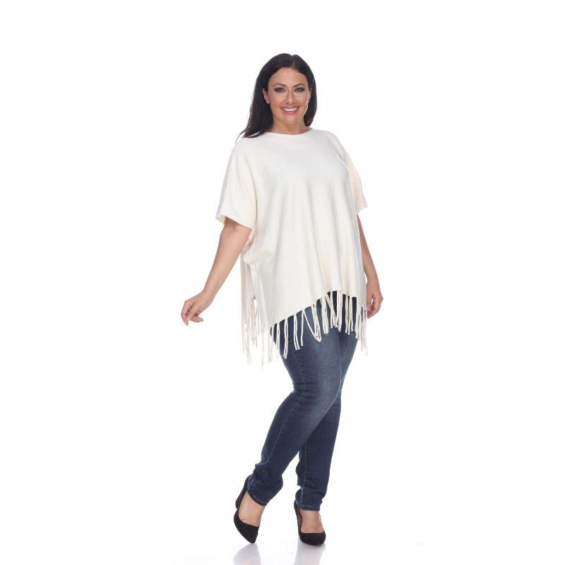 Women's Megara Side Buttoned Fringe Poncho By White Mark-White-One Size Plus Size-Daily Steals