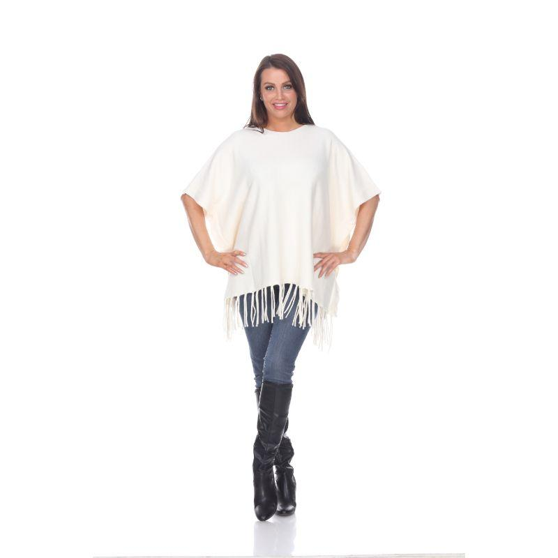 Women's Megara Side Buttoned Fringe Poncho By White Mark-White-One Size Regular-Daily Steals